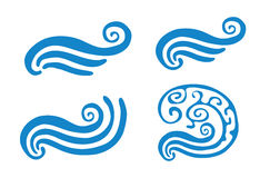 Vector illustration of abstract blue wave, set Royalty Free Stock Photography