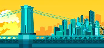 Bridge to megalopolis. Vector illustration of abstract city metropolis bridge over the river or canal Royalty Free Stock Photos