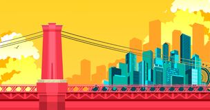 Bridge to megalopolis. Vector illustration of abstract city metropolis bridge over the river or canal Stock Photo