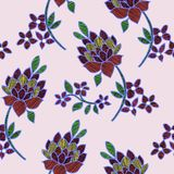 Vector illustration of abstract colorful flowers and leaves seamless pattern. Flowers and leaves with line ornament. Hand drawn stock illustration