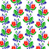 Vector illustration of abstract colorful flowers seamless pattern. Vector illustration of abstract colorful flowers pattern. Green flower and red, blue leaves on royalty free illustration