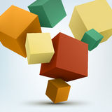 Vector Illustration of abstract 3d cubes. Background design Royalty Free Stock Photography