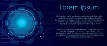 Vector illustration of abstract digital geometric background in blue colors with place for text. High technologies. Concept with light, circles, dots stock illustration