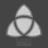 Vector illustration of abstract dotted symbol triquetra. Celtic sacred geometry sign made in stippling technique. Isolated halftone symbol. Pointillism Royalty Free Stock Images