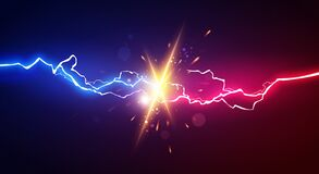 Free Vector Illustration Abstract Electric Lightning. Concept For Battle, Confrontation Or Fight Royalty Free Stock Image - 179816836