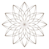 Vector Illustration - Abstract Floral Print. Abstract Flower, Mandala or Star for Coloring. Round Ornament Pattern. Coloring Page. Stock Photo