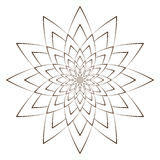 Vector Illustration - Abstract Floral Print. Abstract Flower, Mandala or Star for Coloring. Round Ornament Pattern. Coloring Page. Stock Image