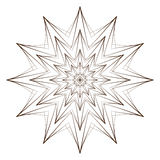 Vector Illustration - Abstract Floral Print. Abstract Flower, Mandala or Star for Coloring. Round Ornament Pattern. Coloring Page. Royalty Free Stock Photo