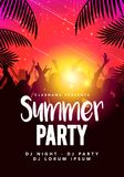 Vector illustration abstract flyer poster design summer beach party template. With dacing people and palm leafs vector illustration