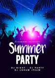 Vector illustration abstract flyer poster design summer beach party template. With dancing people and palm leafs vector illustration