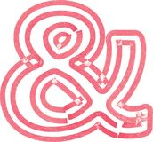 Abstract ampersand Symbol made with red marker. Vector Illustration of Abstract font royalty free illustration