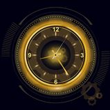 Vector illustration of abstract futuristic digital clock, technology background with golden light number timer, time. Concept and countdown royalty free illustration