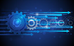 Vector illustration Abstract futuristic gear wheel with circuit board Stock Images