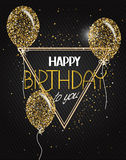 Vector illustration with abstract gold air balloons with stars and Happy Birthday wishes Royalty Free Stock Image
