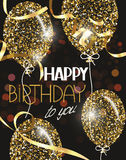 Vector illustration with abstract gold air balloons with stars and Happy Birthday wishes Stock Photos