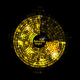 Vector illustration of abstract gold disco lights Stock Images
