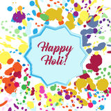 Vector illustration of abstract Happy Holi badge on colorful background Stock Images