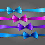Holiday Background  with set of color bow Stock Photos