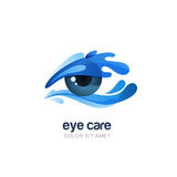 Vector illustration of abstract human eye in clean water splash. Royalty Free Stock Images