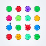 Vector illustration abstract isolated funny cute flat style emoji emoticon icon set with different moods. On background Stock Photos