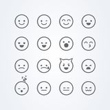 Vector illustration abstract isolated funny cute flat style emoji emoticon icon set with different moods. On background royalty free illustration