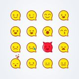Vector illustration abstract isolated funny flat style emoji emoticon speech bubble icon set. On white background Stock Photos