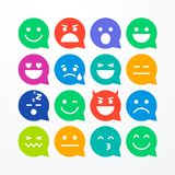 Vector illustration abstract isolated funny flat style emoji emoticon speech bubble icon set. On white background vector illustration