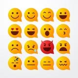Vector illustration abstract isolated funny flat style emoji emoticon speech bubble icon set. On white background stock illustration