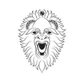 Vector illustration abstract isolated predatory unusual grin wild animal yeti decorated black linear doodle. Stock vector illustration abstract isolated royalty free illustration