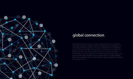 Abstract Lines and Dots of Global Connections. Vector illustration of abstract lines and dots of global connection links Stock Images