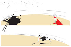 Vector illustration - Abstract paintings on the theme of bullfighting Stock Photography