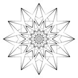 Vector Illustration - Abstract Print for Coloring. Mandala, Star, Flower. Round Ornament Pattern. Coloring Page. Stock Photo