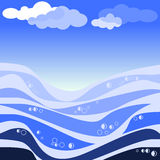 Vector illustration of abstract sea and blue sky Royalty Free Stock Photos