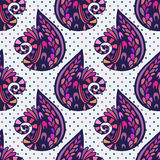 Vector illustration abstract seamless pattern. Abstract colorful doodles violet background Royalty Free Stock Photography