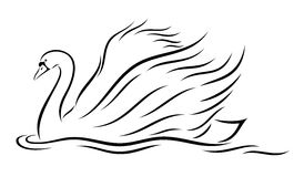 Vector illustration of abstract, stylized swan Royalty Free Stock Image