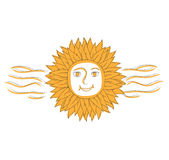 Vector Illustration of Abstract Sun With Flames Royalty Free Stock Image