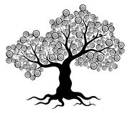 Vector illustration of abstract tree with swirls and two birds Royalty Free Stock Photo