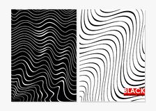 Vector illustration of abstract wavy black and white backgrounds. Monochrome design curly geometric shapes for banner.