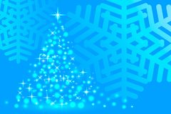 Abstraction blue snowflake, christmas festive fir-tree, new year. Vector illustration, abstraction blue snowflake, christmas festive fir-tree, new year Royalty Free Stock Images