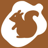 Vector illustration of acorn on brown background. Vector illustration of acorn with squirrel on brown background Stock Photography