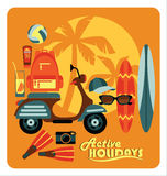 Vector illustration of active summer holidays. Stock Photography