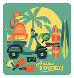 Vector illustration of active summer holidays. Royalty Free Stock Image