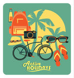 Vector illustration of active summer holidays. Stock Image
