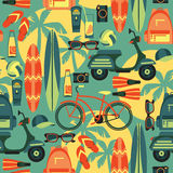 Vector illustration of active summer holidays. Royalty Free Stock Photo