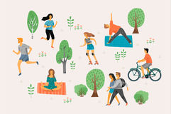 Vector illustration with active young people. Royalty Free Stock Image