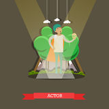 Vector illustration of actor playing at the theater, flat design. Stock Images
