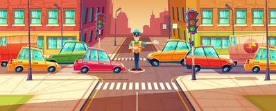 Vector illustration of adjusting city crossroads in rush hour, traffic jam, transport moving, vehicles by crossing guard. Urban highway regulation, crosswalk Stock Photos