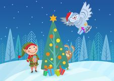 Vector illustration of adorable elf and animals at Christmas tree in forest. Greeting card. Vector illustration of adorable elf and animals at Christmas tree in royalty free illustration