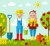 Vector Illustration of adult gardener family and landscape with gardening concept Stock Images