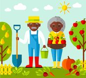 Vector Illustration of adult gardener family and landscape with gardening concept Royalty Free Stock Image